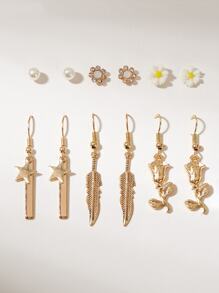 Flower & Leaf Design Earrings 6pairs