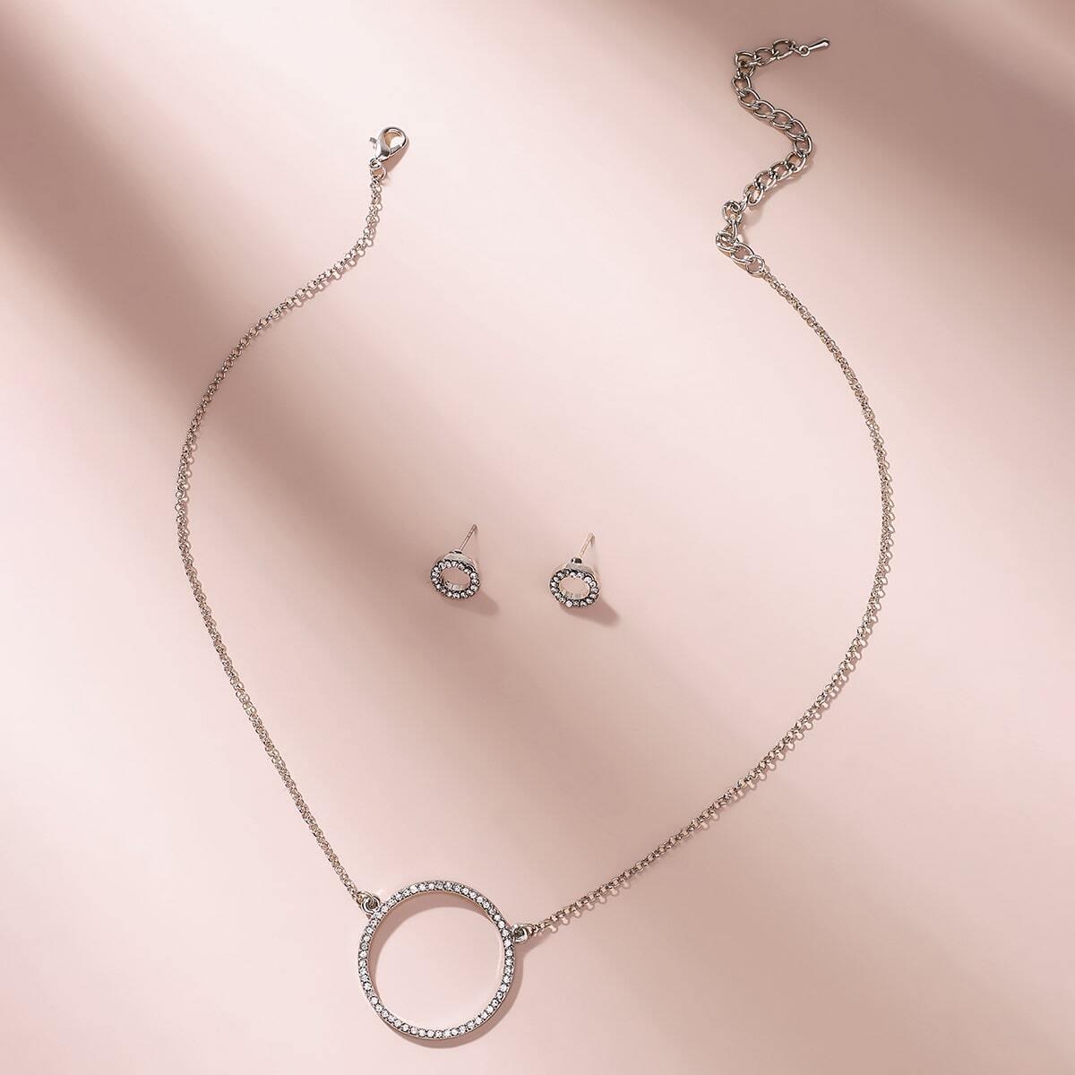 Strass Runde Charm Halskette & Ohrring Set 3pcs