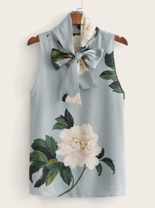 Floral Print Tie Neck Sleeveless Blouse