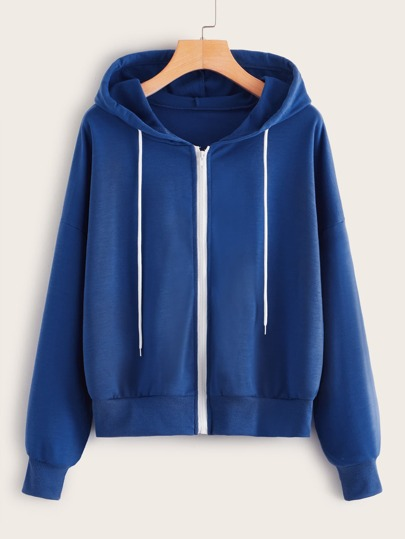 Drawstring Zip-up Hooded Sweatshirt