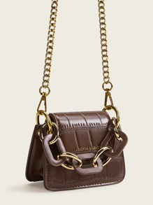 Chain Strap Flap Satchel Bag