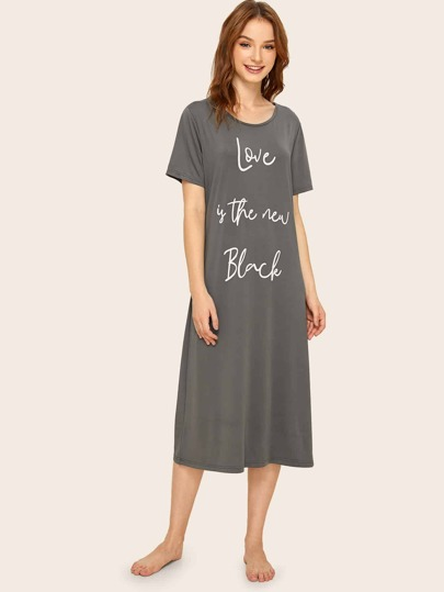Slogan Graphic Night Dress