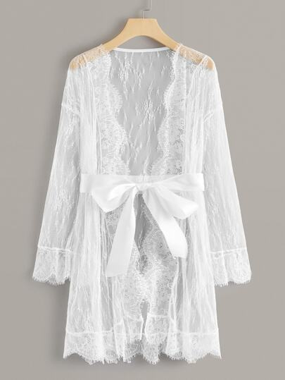 Floral Lace Sheer Belted Robe