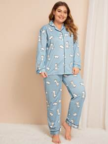 Plus Cow & Deer Print Pajama Set