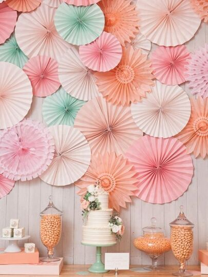 Decorative Tissue Paper Fan Set 3pcs