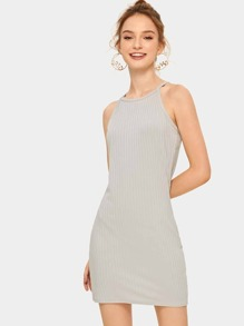 Solid Rib Knit Halter Dress