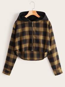Plaid Curved Hem Zip Up Hooded Jacket