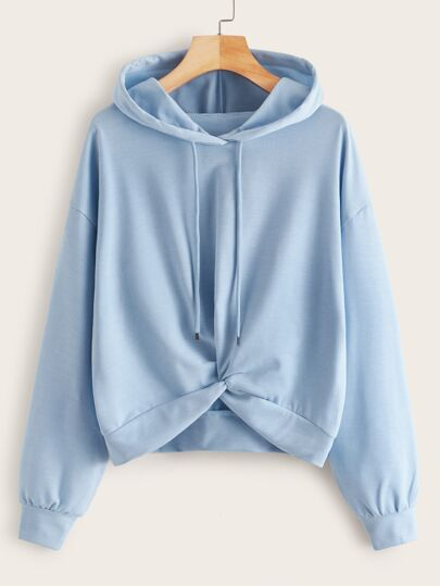 Twist Front Drop Shoulder Hooded Sweatshirt