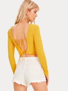 Twist Backless Long Sleeve Tee
