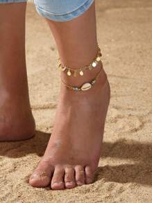 Shell & Disc Decor Chain Anklet 2pcs