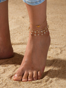 Rhinestone Tassel & Heart Decor Chain Anklet 3pcs