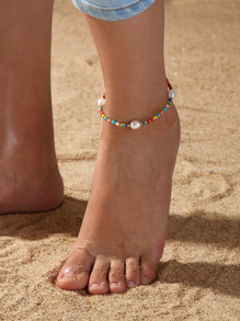 Faux Pearl Decor Beaded Anklet 1pc