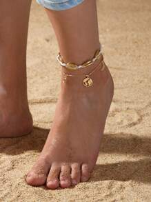 Shell & Star Decor Chain Anklet 2pcs