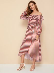 Off the Shoulder Asymmetrical Hem Striped Dress