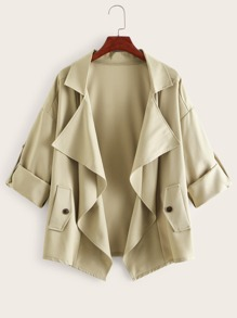 Roll Tab Sleeve Open Front Waterfall Coat