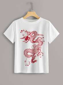 Dragon Print Round Neck Tee