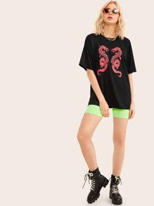 Dragon Print Half Sleeve Tee