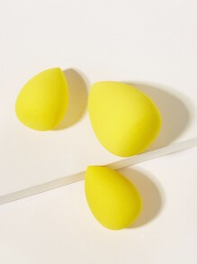 Neon Yellow Water-drop Shaped Makeup Sponge 3pack