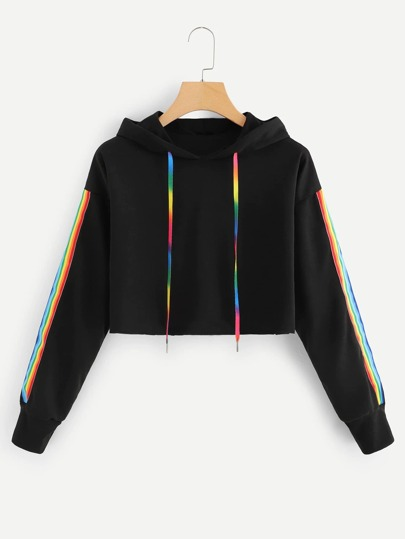 Plus Rainbow Striped Tape Side Crop Hoodie