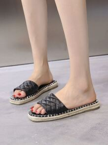 Quilted Open Toe Espadrille Sliders