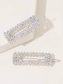 Rhinestone Engraved Hair Clip 2pcs