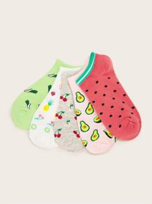 Cherry & Avocado Pattern Ankle Socks 5pairs