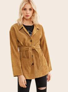 Pocket Side Belted Corduroy Outerwear