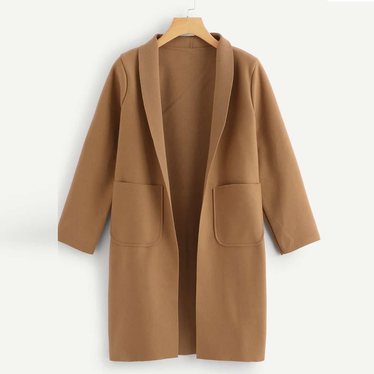 Однотонное длинное пальто размера плюс с карманом