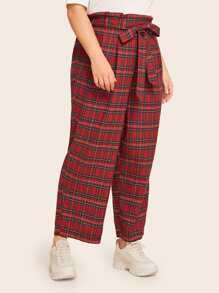 Plus Tartan Plaid Paperbag Waist Belted Pants