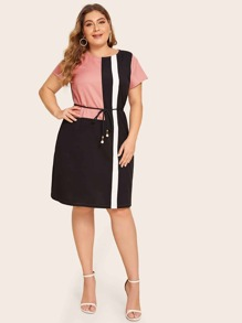 Plus Cut And Sew Belted Dress