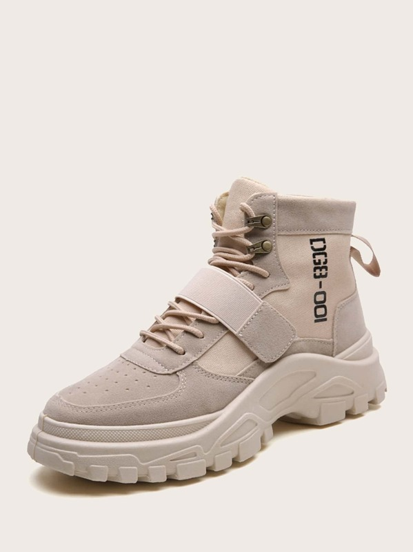 7bbbb668762 Men Lace-up Front Velcro Strap Ankle Boots