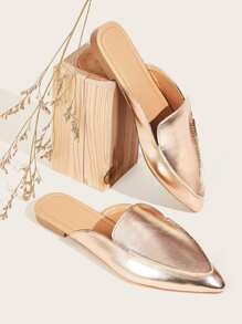 Metallic Point Toe Flat Mules