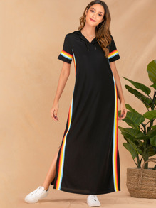 Side Rainbow Striped Drawstring Hooded Dress