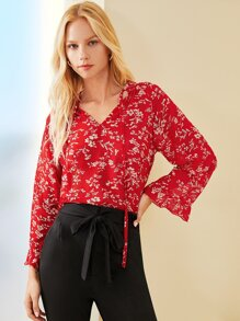 Notched Neck Ditsy Floral Print Blouse