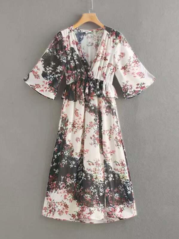6dd282f7ef Chiffon Wrap Ruffle Trim Floral Dress