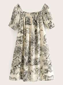 Ink And Wash Print Shirred A-line Dress