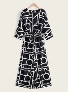 Geo Print Self Tie Wide Leg Jumpsuit