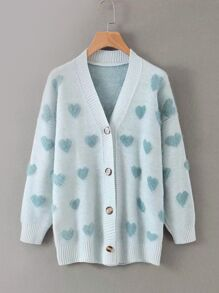 Button Front Heart Knit Cardigan