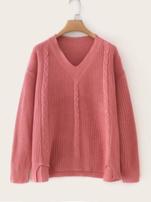 V Neck Slit Hem Knit Sweater