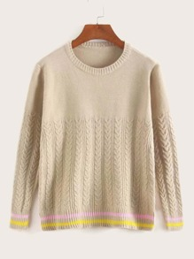 Round Neck Rib-knit Striped Hem Sweater