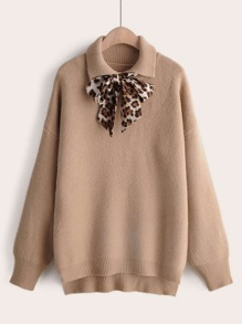 Leopard Tie Front High Low Hem Sweater