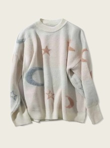 Drop Shoulder Moon & Star Pattern Sweater