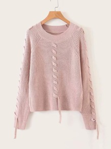 Solid Tape Inset Rib-knit Sweater