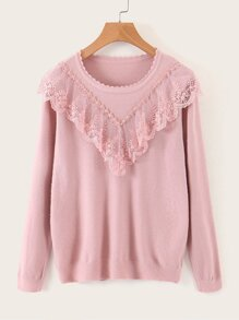 Scallop Collar Appliques Lace Trim Sweater
