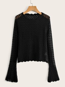Bell Sleeve Scallop Trim Hollow Sweater