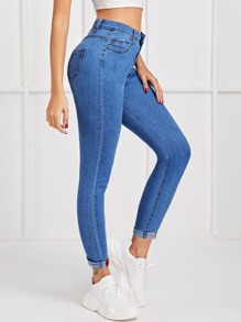 Letter Embroidery Cuffed Hem Skinny Jeans