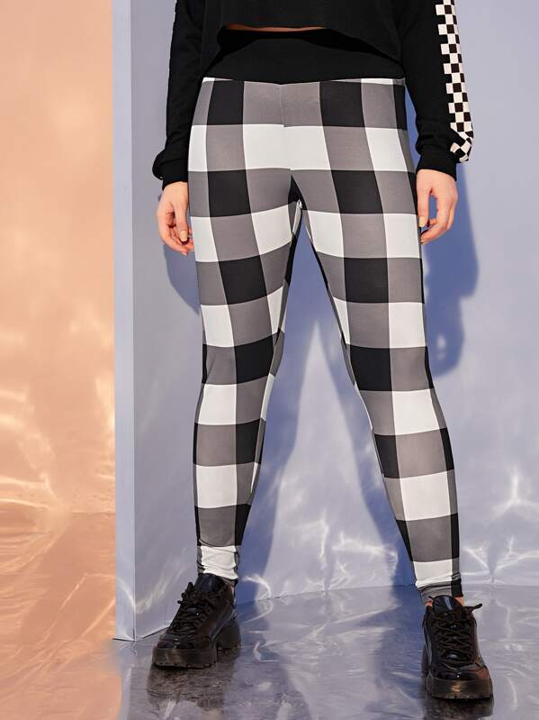 Plus Gingham Wide Band Leggings by Sheinside