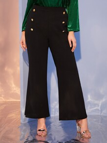 Plus Button Detail Flare Leg Pants