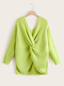 Plus Neon Green Twist Back Sweater