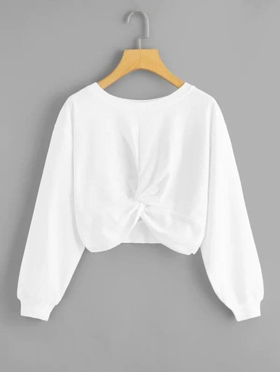 Plus Twist Front Drop Shoulder Sweatshirt